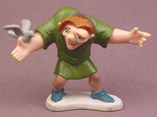 Disney Hunchback of Notre Dame Quasimodo With Bird PVC Figure On A Base, 2 Inches Tall, Figurine