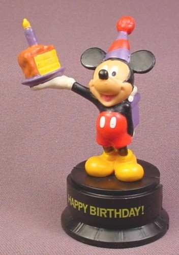 Disney Mickey Mouse Holding A Cake Gift PVC Figure On Happy