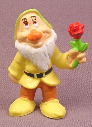 "Disney Snow White Sneezy Dwarf Holding A Rose PVC Figure, 2 1/8"" tall"