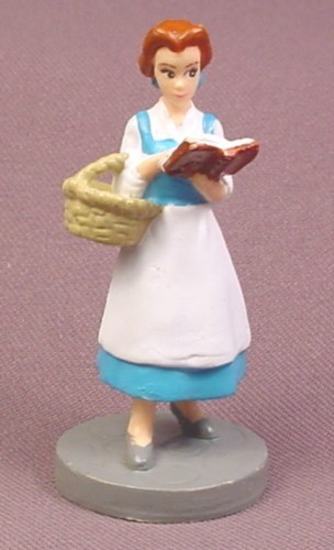 Disney Beauty & The Beast Belle Holding a Book & Basket PVC Figure On A Base, 2 3/4 Inches Tall