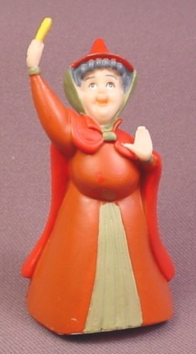 "Disney Sleeping Beauty Flora Fairy PVC Figure, 3"" tall"