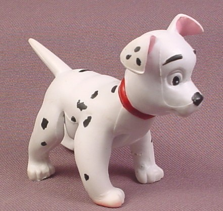 "Disney 101 Dalmatians Rubber Bendy Dog Figure with Red Collar, 2 3/4"" tall, 3 1/4"" long"