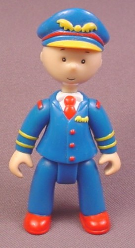 Caillou Figure in Pilot Uniform, 3 1/2 Inches Tall, 2003 Cinar, The Heads Arms & Legs are Jointed