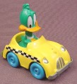 "Looney Tunes Pluck Duck in Diecast Metal Taxi Car, 2 1/4"" tall, 1990 Playskool, Tiny Toon"