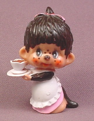 "Monchhichi Vintage 1979 PVC Figure, Girl with Coffee or Tea Cup & White Apron, 2 3/8"" tall"