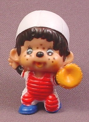 "Monchhichi Vintage 1979 PVC Figure, Baseball Player with Mitt & Red Pads, 2"" tall, Sekiguchi"