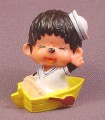 "Monchhichi Vintage 1979 PVC Figure, Sailor in Yellow Rowboat, 2"" tall, Sekiguchi"