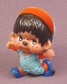 Monchhichi Vintage 1979 PVC Figure, Baseball Player Running, Blue & Orange Uniform