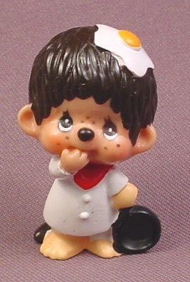 "Monchhichi Vintage 1979 PVC Figure, With Frying Pan & Egg On His Head, 2 1/8"" tall, Sekiguchi"