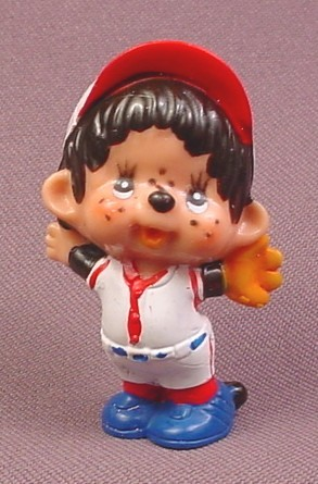 Monchhichi Vintage 1979 PVC Figure, Baseball Player with Glove, Red & White Uniform