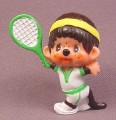 "Monchhichi Vintage 1979 PVC Figure, With Green Tennis Racquet, 2 1/8"" tall, Sekiguchi"