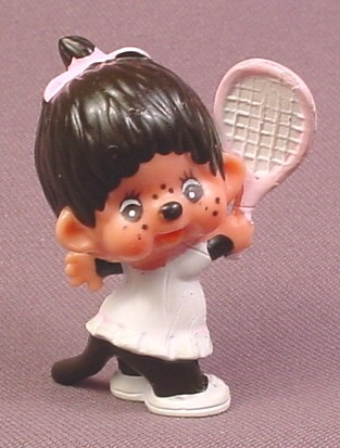 "Monchhichi Vintage 1979 PVC Figure, Girl with Pink Tennis Racquet, 2 1/4"" tall, Sekiguchi"
