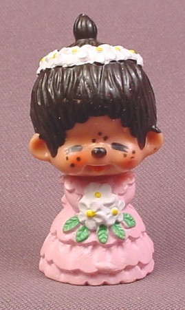 "Monchhichi Vintage 1979 PVC Figure, Bride in Pink Dress, White Bouquet, 2 3/8"" tall"