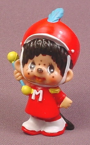 """Monchhichi Vintage 1979 PVC Figure, Marching Band Leader with Baton, 2 1/2"""" tall"""