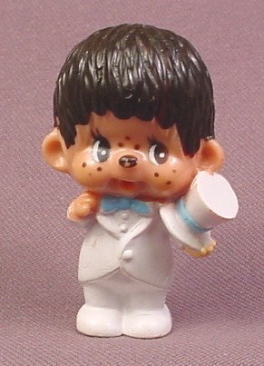 "Monchhichi Vintage 1979 PVC Figure, Groom in White Top Hat & Tuxedo, 2 1/2"" tall"