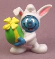 Smurf Easter Bunny with Large Green Egg & Yellow Bow PVC Figure, Peyo, Schleich, 1982