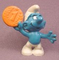 Smurf With A Penny Coin PVC Figure, Peyo, Schleich, Hong Kong (white is not bright)