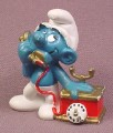 Smurf With Antique Style Telephone PVC Figure, 1980 Peyo #3, Schleich, West Germany
