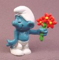 Smurf With Bouquet of Flowers PVC Figure, Peyo #4, Schleich, West Germany