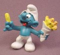 Smurf With Fish & Chips PVC Figure, 1981 Peyo #2, Schleich, West Germany, Mustard Dot