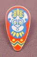 Lego 2586px10, White Oval Shield with Islanders Mask Pattern, Minfig Accessory, 6278 6292 6236