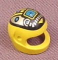 Lego 2446px4, Yellow Modern Helmet with Silver & Blue Machinery Pattern, 6991 6705 1787 1793