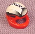 Lego 2446px7, Red Modern Helmet with Checker Board Pattern, 8350, Minifig Accessory, Racers