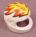 Lego 2446px5, White Modern Helmet with Flames Pattern, 6584 6568 4594 5318 6589 4593 6582