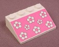 Lego 3297px10, White Sloped 33 3x4 Brick with White Flowers on Pink Background Pattern, 4151