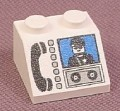 Lego 3039px14, White Sloped 45 2x2 Brick with Phone & MiniFig Pattern, Parts with Patterns