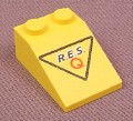 Lego 3298px24, Yellow Sloped 33 3x2 Brick with Res-Q Logo in Black Triangle Pattern, 1097 5319