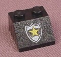 Lego 3039px44, Black Sloped 45 2x2 Brick with Yellow Police Star Badge Pattern, 5319 6332 6636