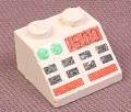 Lego 3039p70, White Sloped 45 2x2 Brick with Buttons & Clock Pattern, 1254 1352 2774 2887