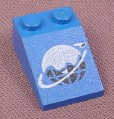 Lego 3298p61, Blue Sloped 33 3x2 Brick with Ice Planet Logo Pattern, 1704 1722 5054 5121 6834
