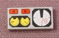 Lego 3069bpx19, Medium Stone Gray 1x2 Tile with Red 82 & Yellow & White Gauges Pattern
