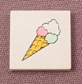 Lego 3068bpx16, White 2x2 Tile with Ice Cream Cone Pattern, 6409 6411 9701 970098, Paradisa