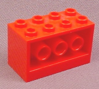 Lego 6061 Red 2x4x2 Brick with 3 Technic Rod Holes Through Side, 6939, Space