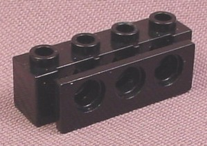 Lego 2989 Black 1x4 Technic Brick with 3 Holes & Bumper Holder, 6473 7045 7243 8816 8824 8872