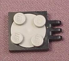 Lego 215 & 3679 2x2 Black & Gray Turntable Base with Hinge & Plate Top