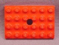 Lego 709 Red 4x6 Plate with Offset Hole, 310 331 332 371 374 336 337 377 372