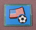 Lego 3855 Transparent Blue 1x4x3 Window Glass With United States Flag & Soccer Ball Sticker