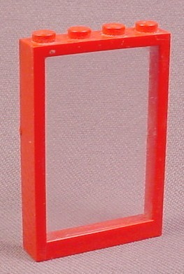 Lego 4347 Red 1x4x5 Window Frame with Clear Glass Pane