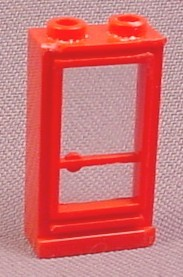 Lego 33 Red 1x2x3 Right Door With Glass Pane