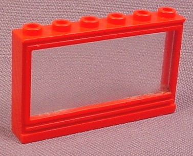 Lego 604 Red 1x6x3 Panorama Window Frame with Glass Pane
