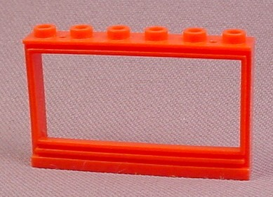 Lego 604B Red 1x6x3 Panorama Window Frame with Top Holes, Does Not Have The Glass Pane
