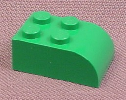 Lego 6215 Green 2x3 Brick With Curved End
