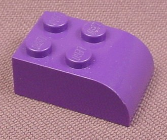 Lego 6215 Medium Violet 2x3 Brick With Curved End