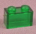 Lego 3004 Transparent Green 1x2 Brick, 970098
