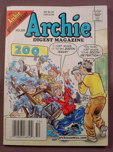 Archie Digest Magazine Comic #200, Oct 2003, Fair Condition, Wear to Cover & Crease