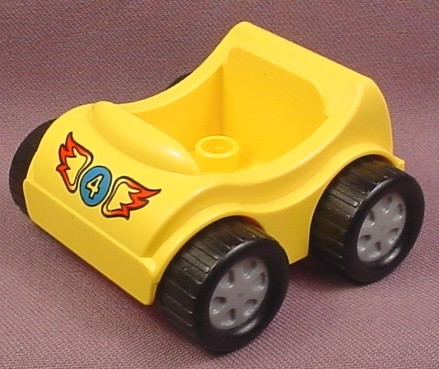 Lego Duplo 31363CX11 Yellow Vehicle Car with Blue #4 with Wings Pattern, Silver Hubs, Racing